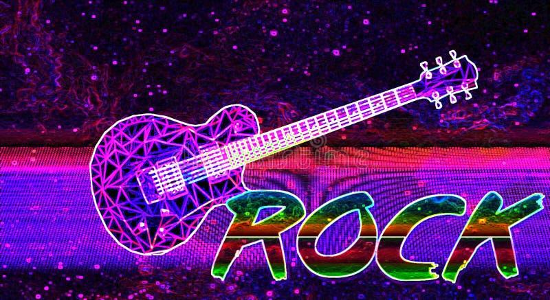 措辞岩石vaporwave五颜六色和紫色星系墙纸 库存例证