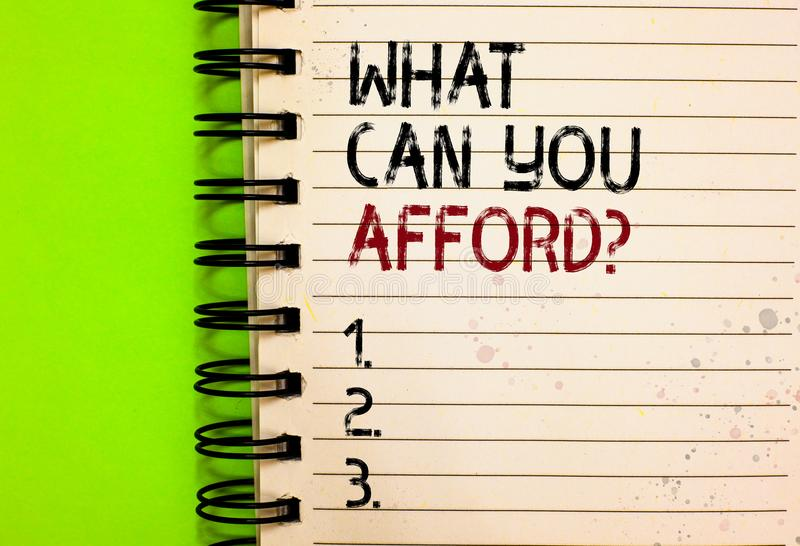 措辞文字文本什么可能您买得起问题 Give的企业概念我们您的金钱书面黑色和r的预算可及性 库存图片