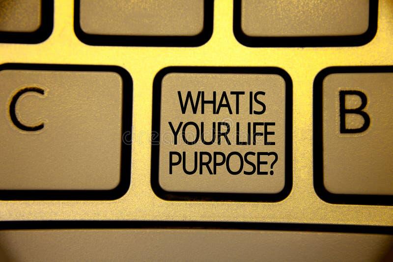 措辞文字文本什么是您的生活目的问题 个人决心目标的企业概念达到目标键盘褐色 向量例证