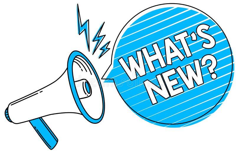 措辞文字文本什么s是新的问题 询问的企业概念最新的更新趋向发生的新闻扩音机loudspe 库存例证