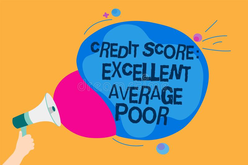 措辞文字文本信用评分优秀一般的贫寒 creditworthness规定值举行Meg的报告人的水平的企业概念 向量例证