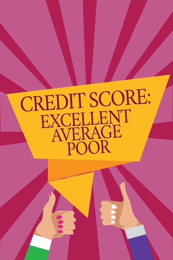 措辞文字文本信用评分优秀一般的贫寒 creditworthness规定值报告人妇女手的水平的企业概念 库存例证