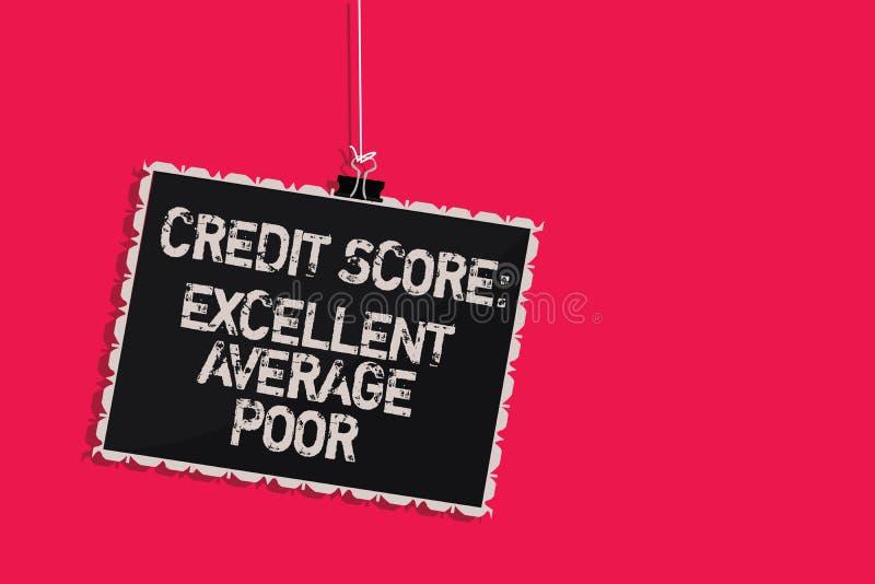措辞文字文本信用评分优秀一般的贫寒 creditworthness规定值报告垂悬的blackbo的水平的企业概念 皇族释放例证