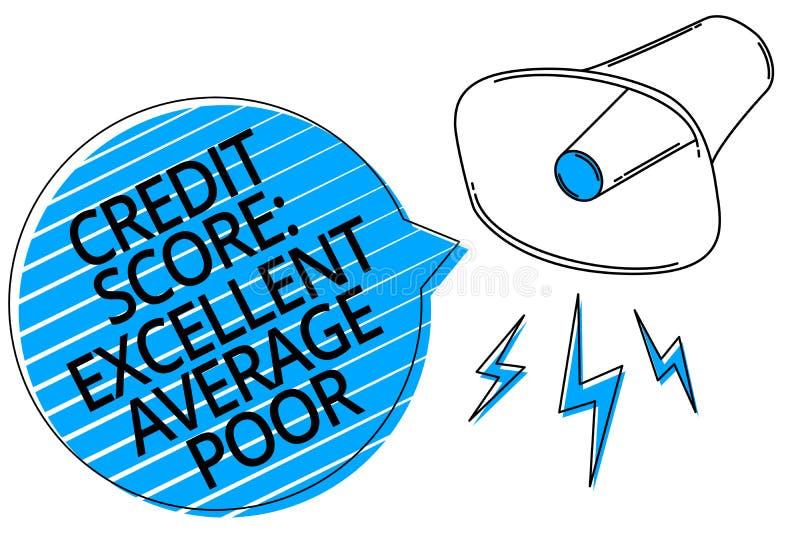 措辞文字文本信用评分优秀一般的贫寒 creditworthness规定值报告扩音机louds的水平的企业概念 向量例证