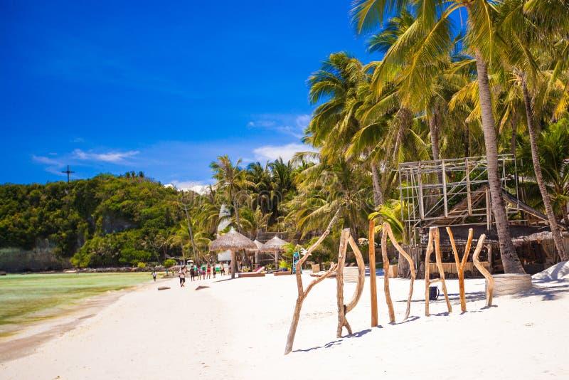 措辞星期五由木头制成在博拉凯海岛 库存照片