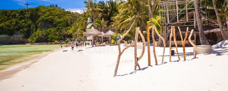 措辞星期五由木头制成在博拉凯海岛 图库摄影