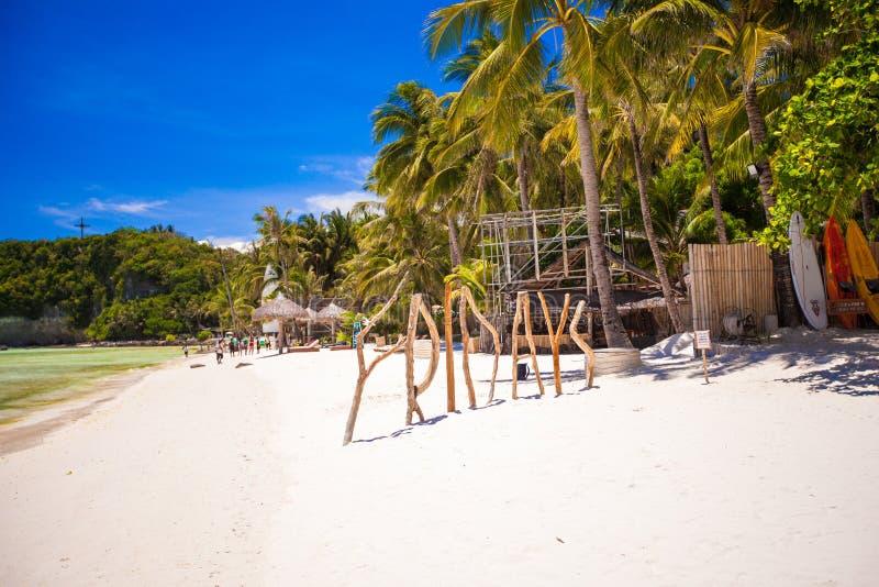 措辞星期五由木头制成在博拉凯海岛 库存图片