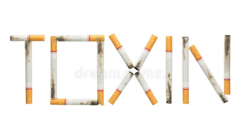 措辞毒素被隔绝的由香烟制成在白色背景 库存照片