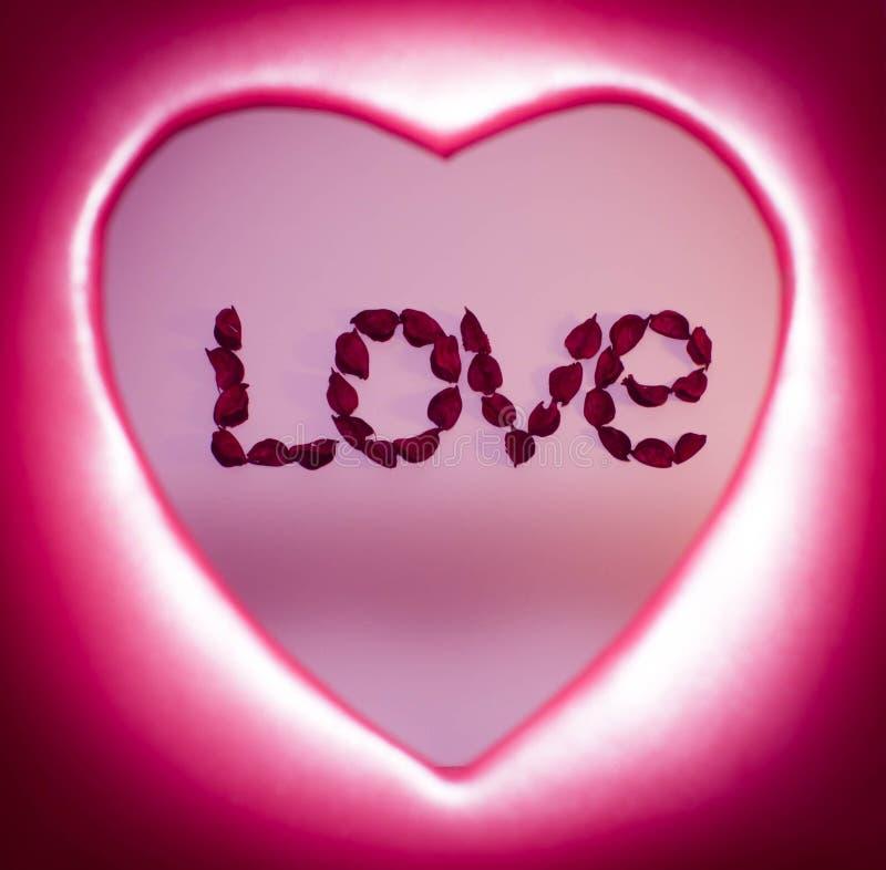 措辞爱计划与在红色心脏里面的人造花 免版税库存图片