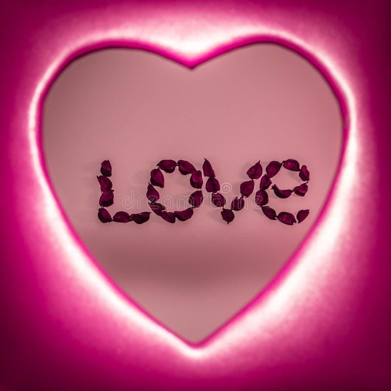 措辞爱计划与在红色心脏里面的人造花 库存图片