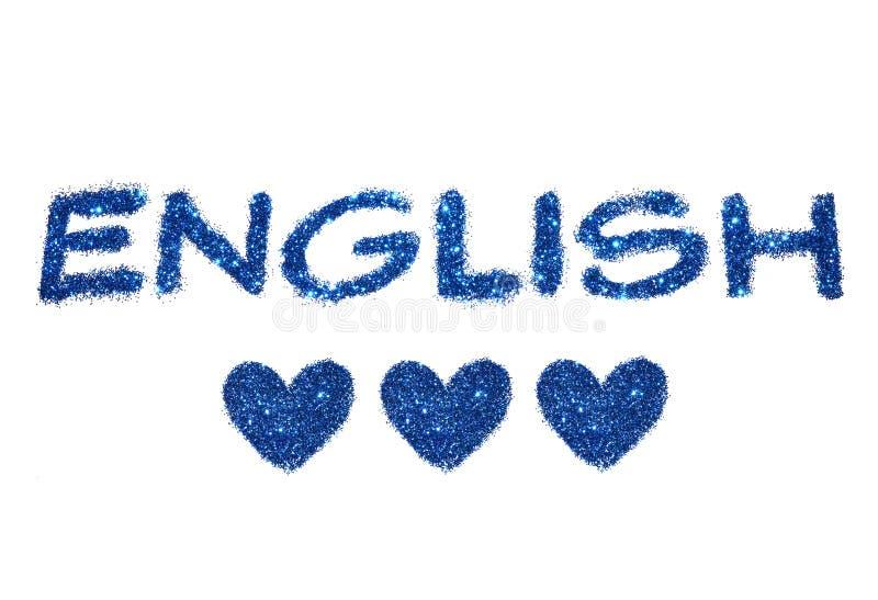 措辞英语和蓝色闪烁的三抽象心脏在白色背景的 免版税库存图片