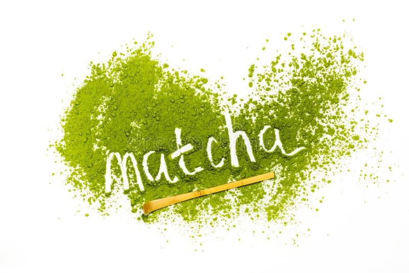措辞matcha由搽粉的matcha绿茶制成 图库摄影