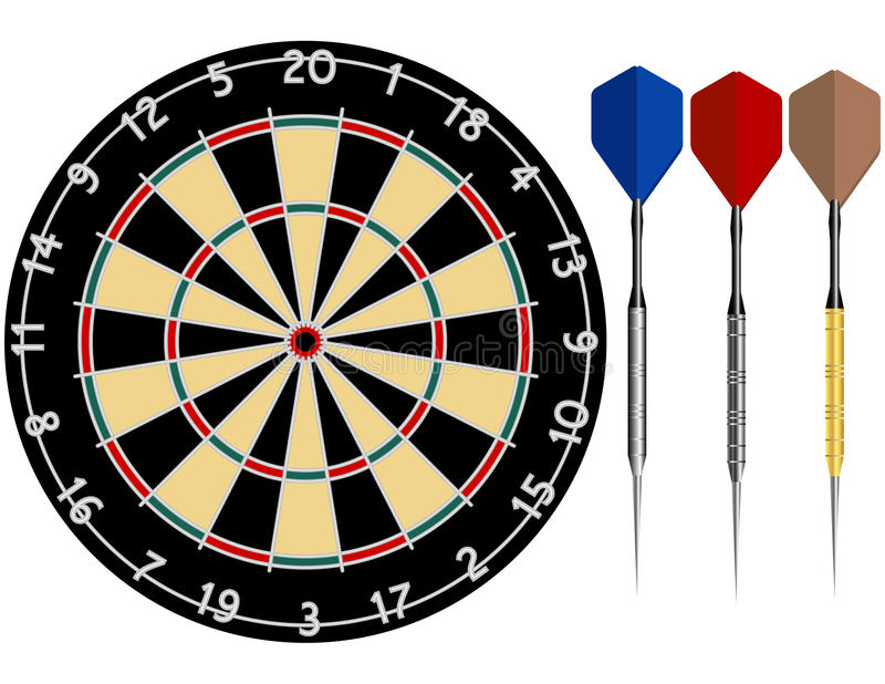 掷镖的圆靶箭 向量例证