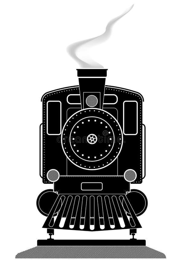 描出一个老机车的正面图在路轨的 黑色白色 向量例证