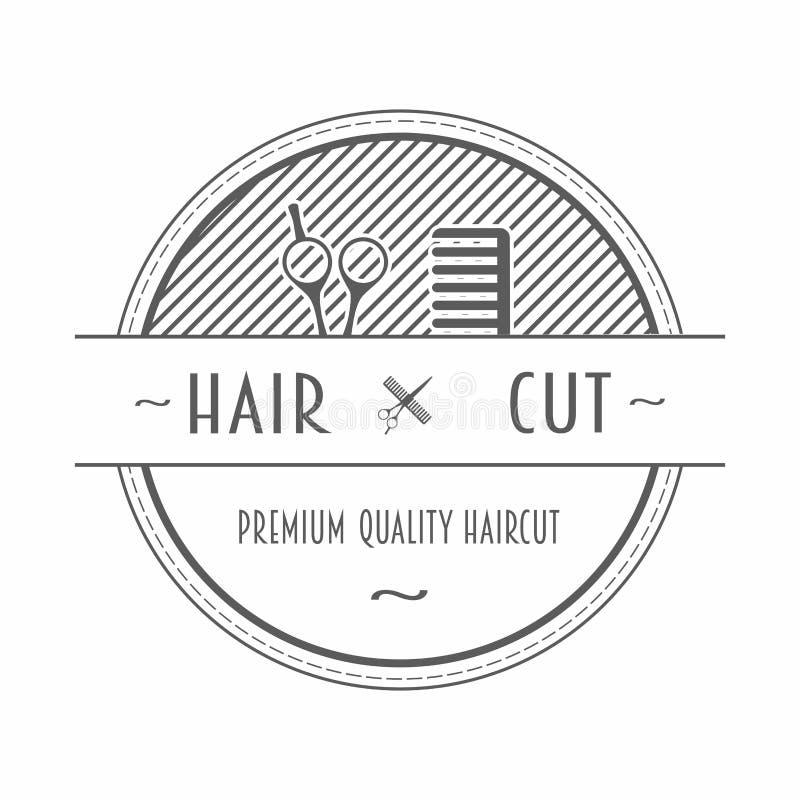 描述一把梳子和剪刀有文本的理发店象征或标签 向量例证