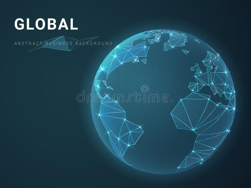 描述与星和线的抽象现代企业背景传染媒介全球性在行星地球的形状在蓝色背景的 向量例证