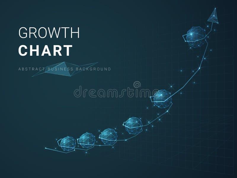 描述与星和线的抽象现代企业背景传染媒介成长曲线图在折线图的形状在蓝色背景的 向量例证