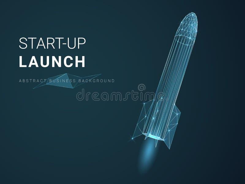 描述与星和线的抽象现代企业背景起始的发射在一艘火箭船的形状在蓝色背景的 库存例证