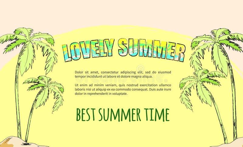 描述有棕榈树的夏令时海报海岛 库存例证