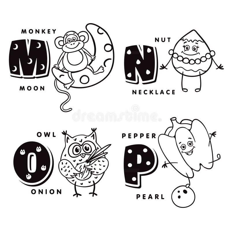 描述猴子、坚果、猫头鹰和胡椒的字母表信件M N O P scrapbooking向量的字母表要素 向量例证