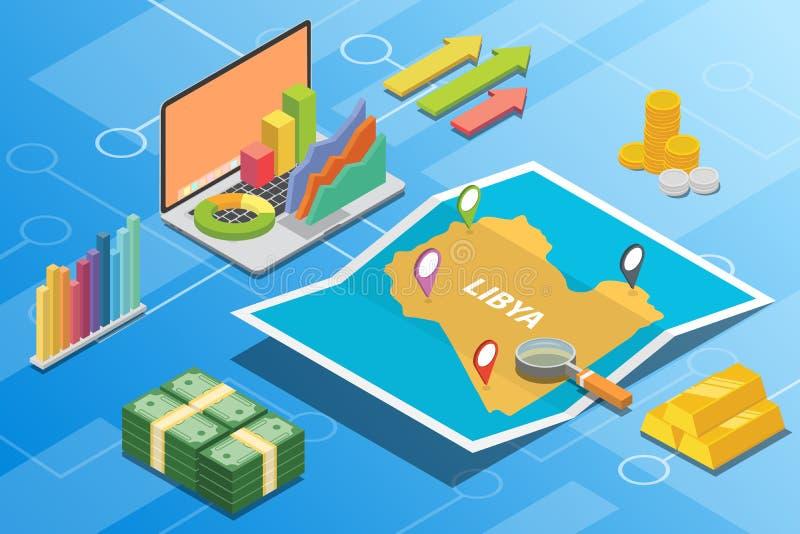 描述的利比亚等量财政经济情况概念国家成长扩展-传染媒介 库存例证