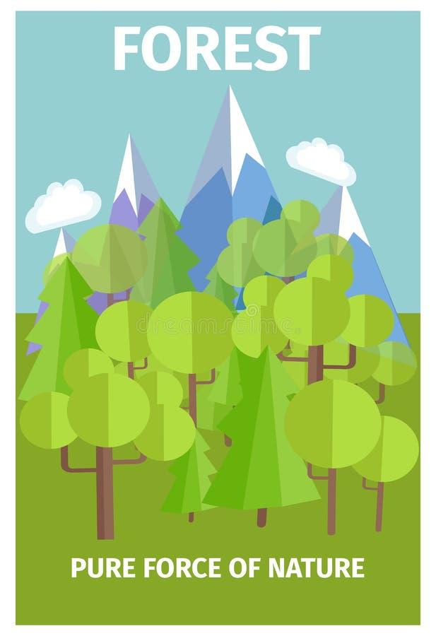 描述自然的纯净的力量海报 向量例证