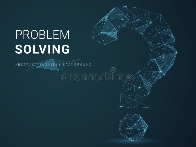 描述解决问题与星和线的抽象现代企业背景在一个问号的形状在蓝色背景 向量例证