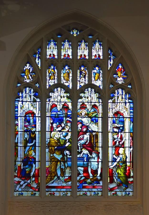 描述贝塞斯达水池的污点玻璃窗,耶稣愈合约翰福音的麻痹人 库存照片