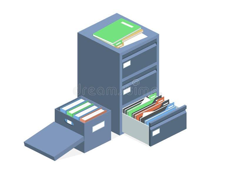 提供内阁传染媒介文件档案储藏盒 库存例证