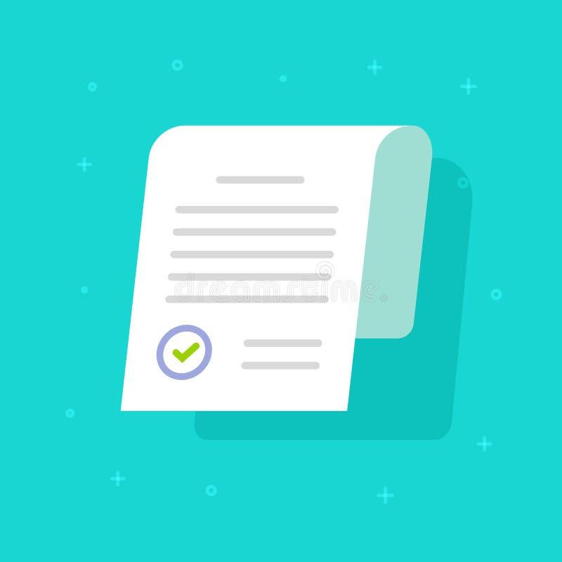 提供批准的邮票传染媒介象、平的动画片纸doc应用程序页与认同封印和文本,想法或者法律 向量例证