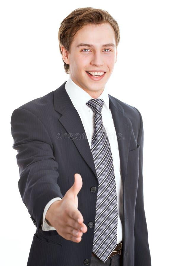 提供握手的商人 免版税库存图片