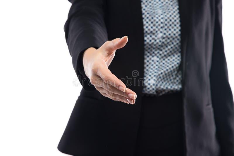 提供握手的女实业家照片 免版税库存图片