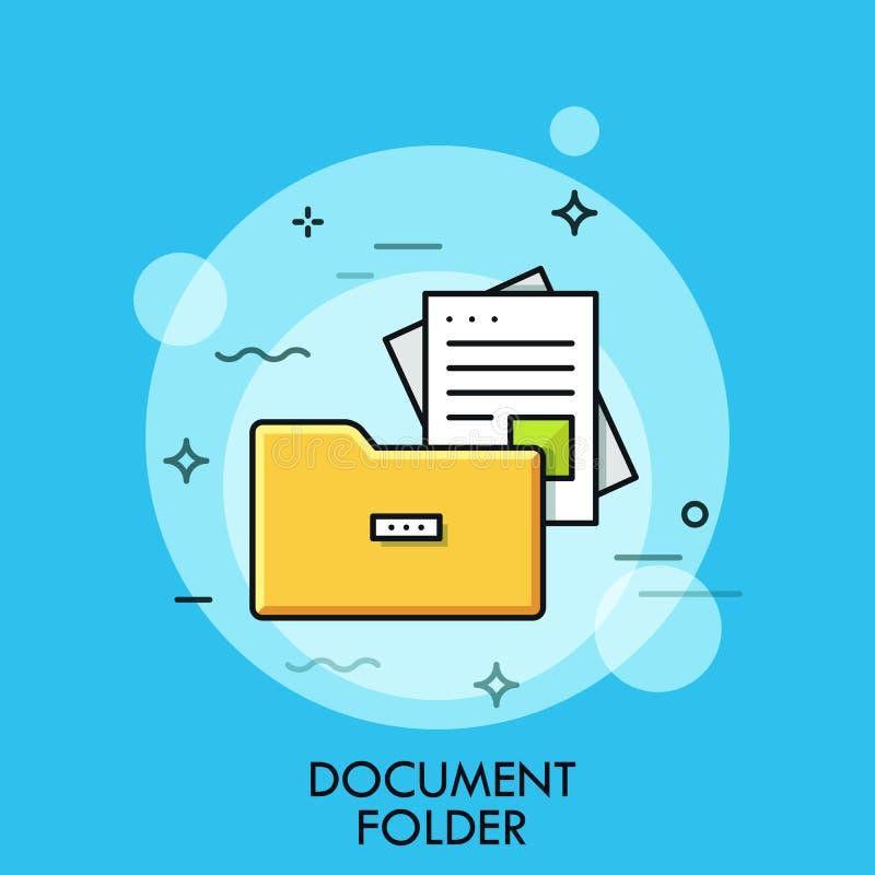 提供文件夹,平的设计稀薄的线横幅 向量例证