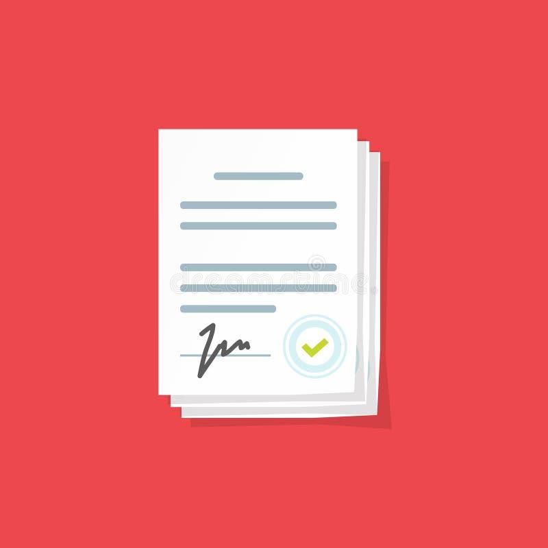 提供标志传染媒介例证、平的动画片纸张文件堆与署名和文本,合同签字的doc,法律 库存例证