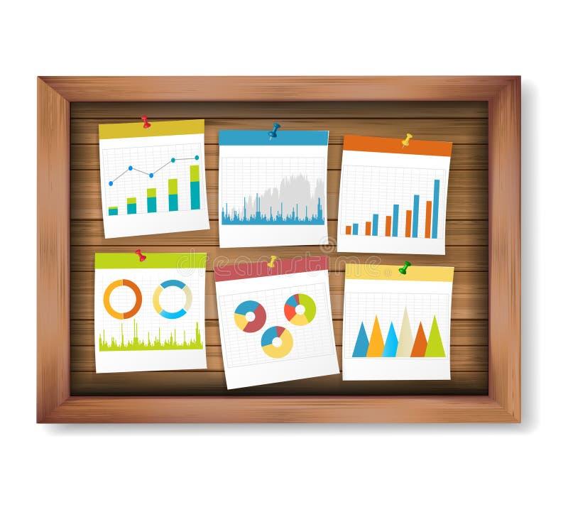 提供经费给企业笔记和stat图表在木板 库存例证