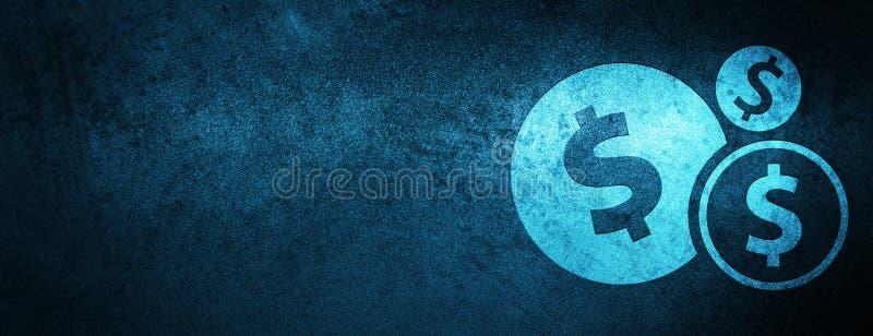 提供经费给美元的符号象特别蓝色横幅背景 皇族释放例证