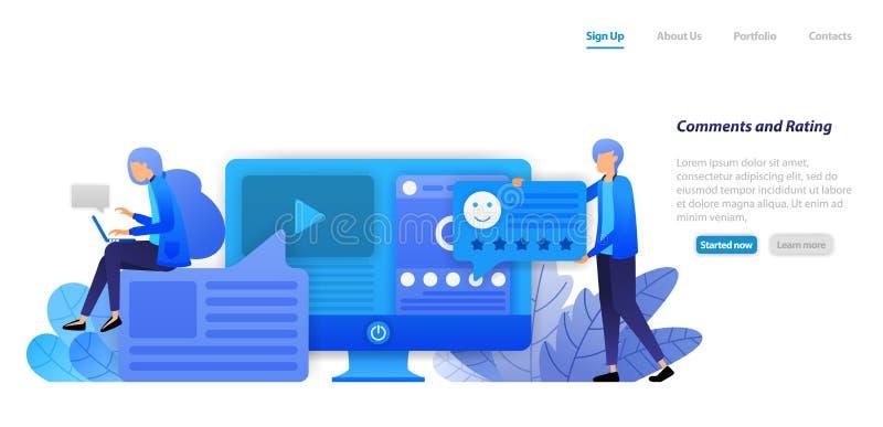 提供评论、规定值、喜欢和反馈给社会媒介influencers内容的录影和状况 平的例证概念 向量例证