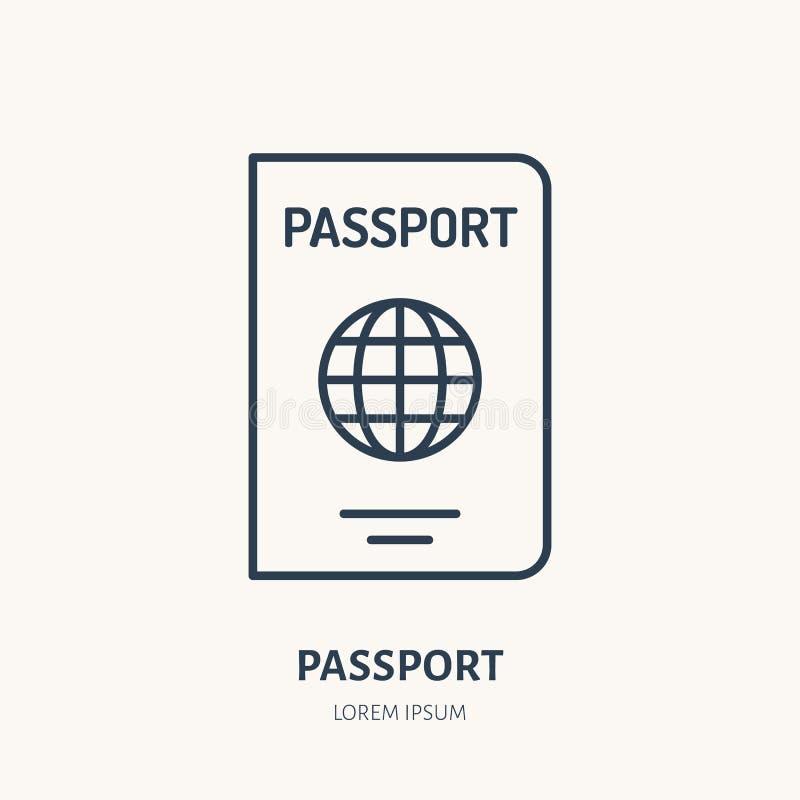 提供身分传染媒介平的线象 护照标志 库存例证