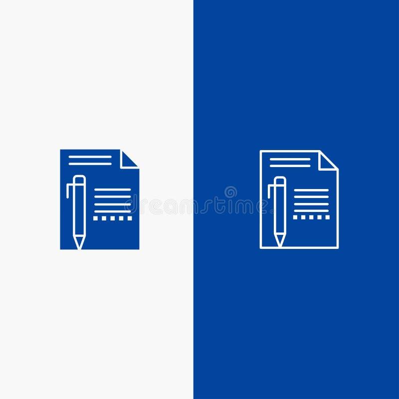 提供,编辑,呼叫,裱糊,书写,写线和纵的沟纹坚实象蓝色旗和纵的沟纹坚实象蓝色横幅 向量例证