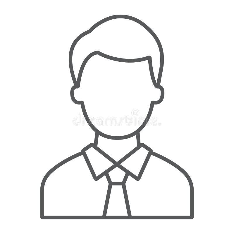 提倡者稀薄的线象,正义和法律,人标志,向量图形,在白色背景的一个线性样式 库存例证