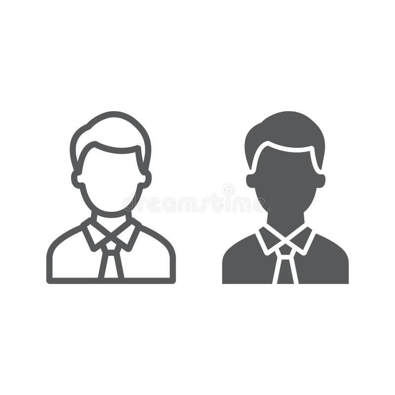 提倡者线和纵的沟纹象、正义和法律,人标志,向量图形,在白色背景的一个线性样式 库存例证