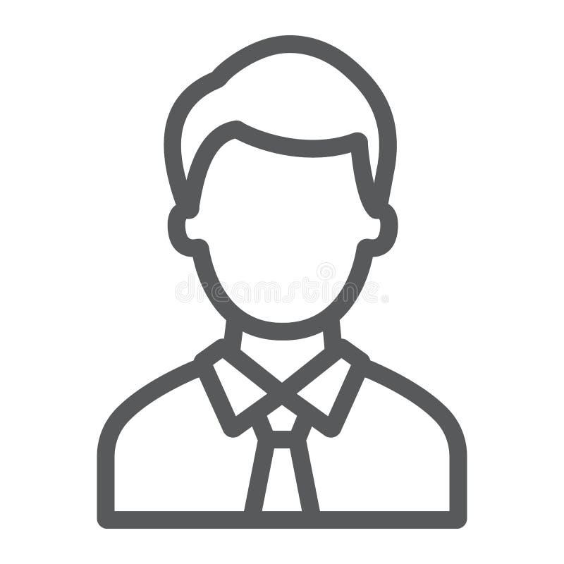 提倡者线象,正义和法律,人标志,向量图形,在白色背景的一个线性样式 向量例证