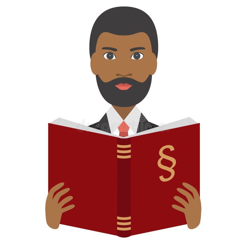 提倡者,读法律书籍的律师 库存例证