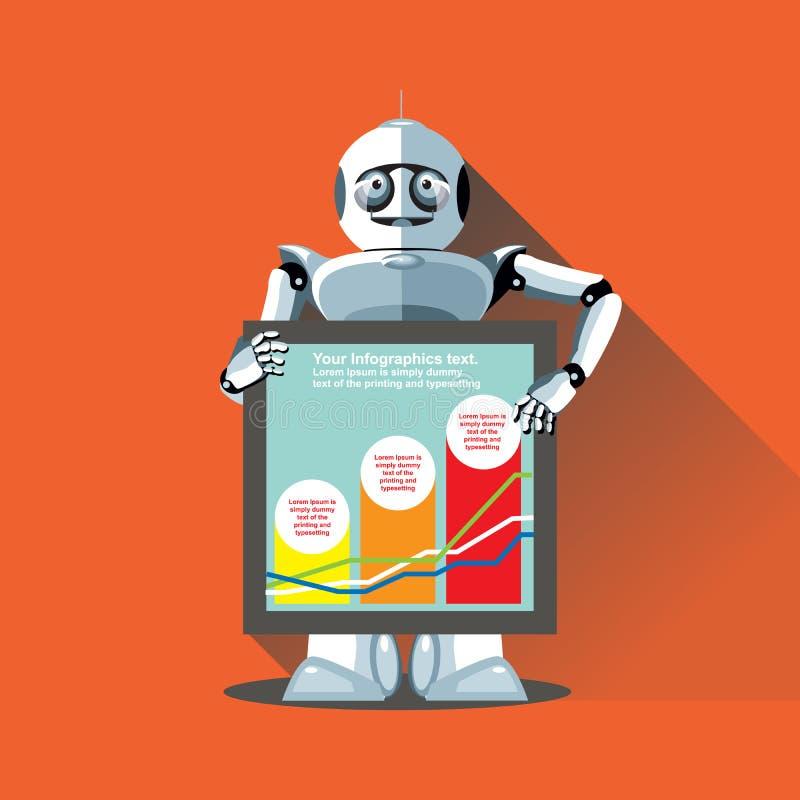 提出信息图表的银色有人的特点的机器人 库存例证