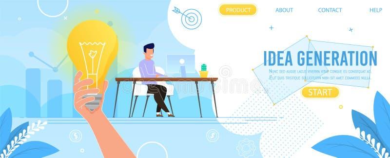 提出想法一代的创造性的登陆的页 库存例证