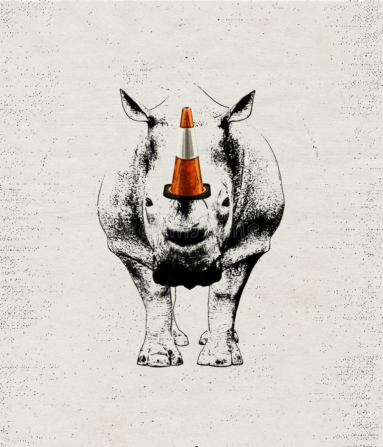 提出警告的例证想法对犀牛偷猎 向量例证