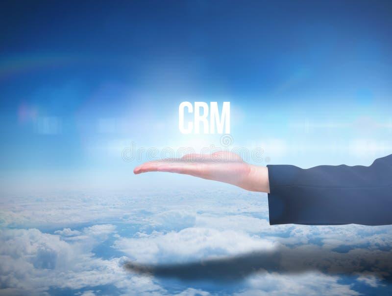 提出词crm的Businesswomans手 免版税库存图片