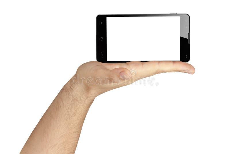 提出黑屏智能手机的手被隔绝 免版税库存照片