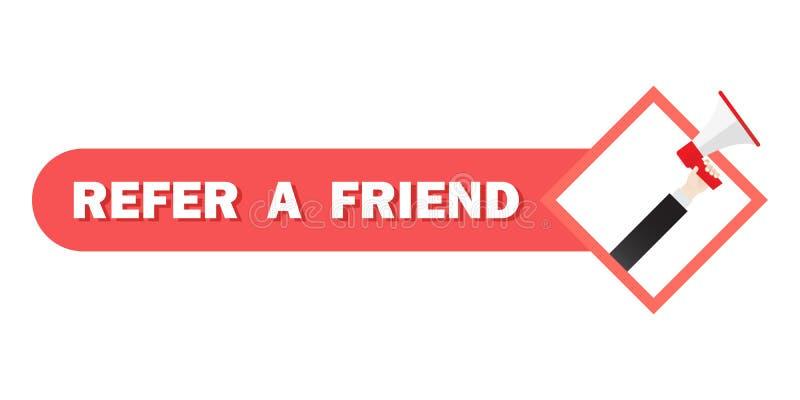 提到一个朋友例证概念,在扩音机的人呼喊,能为登陆的页,数字商业广告使用 ?? 向量例证