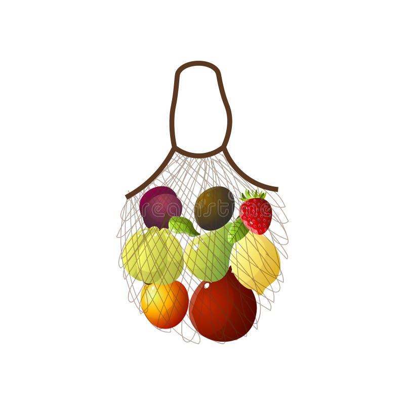 提包网用eco果子,香蕉,李子,猕猴桃 向量例证